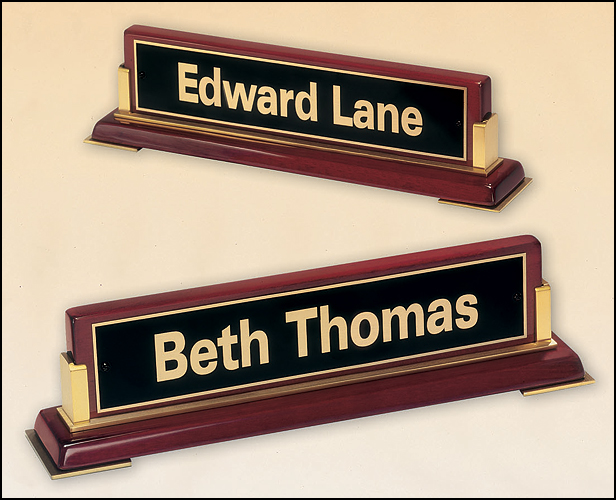 stand alone desk name plate fran ann engraving